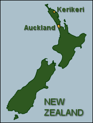Map of New Zealand showing the location of Kerikeri